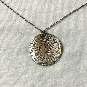 Tiffany Notes Round Silver Pendant Necklace